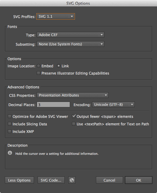 Default SVG options in Illustrator