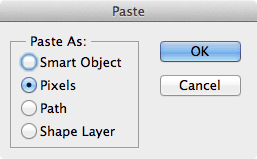 Paste options in Photoshop